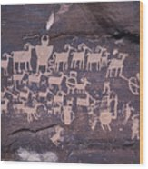 The Hunt Scene- Ancient Pueblo-anasazi Wood Print by Ira Block