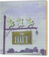 The Hut Bbq Restaurant Sign Wood Print by Jerry Grissom