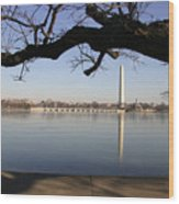 The Iced-over Tidal Basin In Mid-winter Wood Print