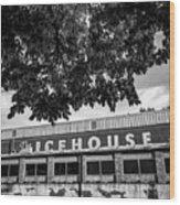 The Icehouse - Black And White - Bentonville Market District - Square Print Wood Print
