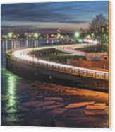 The Icy Charles River At Night Boston Ma Cambridge Wood Print