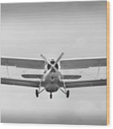 The Image Of A Sport Propeller Airplane In The Sky. Wood Print