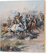 The Indian Encirclement Of General Custer At The Battle Of The Little Big Horn Wood Print