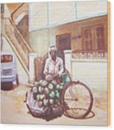 The Indian Tendor-coconut Vendor Wood Print