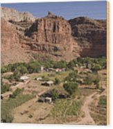 The Indian Village Of Supai Sits Wood Print