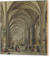 The Interior Of A Gothic Church Looking East   Wood Print