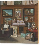 The Interior Of A Picture Gallery With Connoisseurs Admiring Paintings Wood Print