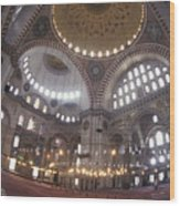 The Interior Of The Suleymaniye Mosque Wood Print