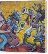The Jazz Trio Wood Print