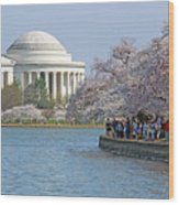 The Jefferson Memorial With Cherry Blossoms And A Lot Of People Wood Print