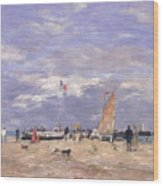 The Jetty At Deauville Wood Print