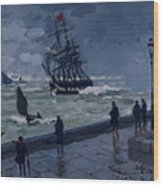 The Jetty At Le Havre In Bad Weather Wood Print