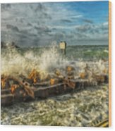 The Jetty Storm Wood Print