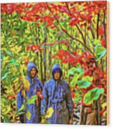 The Joys Of Autumn Camping - Paint Wood Print