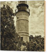 The Key West Lighthouse In Sepia Wood Print