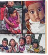 The Kids Of India Collage Wood Print