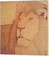 The King Lion Wood Print