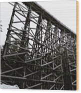The Kinsol Trestle Panorama View On Snowy Day 1. Wood Print