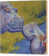 The Kiss - Hippos Wood Print