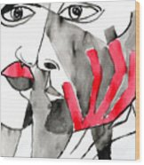 The Kiss In Red Wood Print