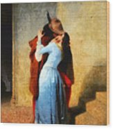 The Kiss Of Hayez Revisited Wood Print