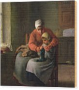 The Knitting Lesson Wood Print