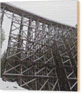 The  Koksilah River Trestle With Snow 1. Wood Print