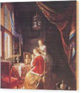 The Lady At Her Dressing Table 1667 Wood Print
