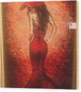 The Lady In Red Wood Print