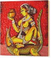 The Lady On Crocodile Wood Print