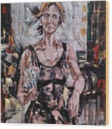 The Lady With The Fan Wood Print