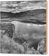 The Lake In Black And White Wood Print