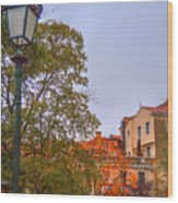 The Lamppost In Oil Wood Print