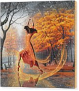 The Last Dance Of Autumn - Fantasy Art  Wood Print