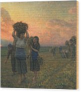 The Last Gleanings Wood Print by Jules Breton