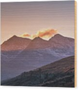 The Last Light Of The Day Over Snowdon. Wood Print