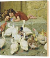 The Last Spoonful Wood Print by Briton Riviere