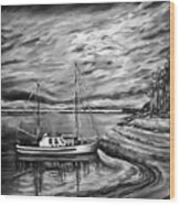 The Last Sunset Before Sailing Black And White Wood Print