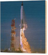 The Launch Of The Mercury Atlas Wood Print
