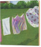 The Laundry On The Line Wood Print