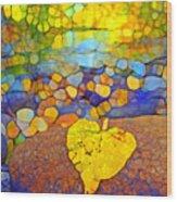 The Leaf At The Creek Wood Print