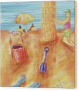 The Leaning Sand Castle Wood Print