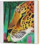The Leopard And The Butterfly Wood Print