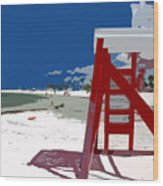 The Lifeguard Stand Wood Print