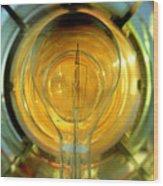 The Light Bulb Inside The Fresnel Of A Lighthouse Wood Print