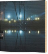 The Light From The Shore Lights Reflected In The Water 3 Wood Print