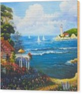 The Light House By The  Sea Wood Print