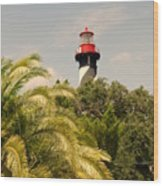 The Lighthouse In Saint Augusrtine Fl Wood Print