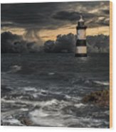 The Lighthouse Storm Wood Print