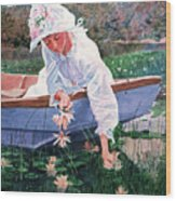 The Lily Gatherer Wood Print by David Lloyd Glover